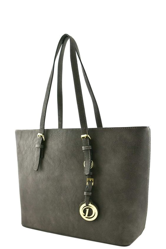 Leather tote zipper pockets