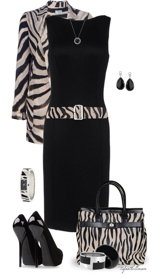 """Dress Up With Zebra Print"" by tufootballmom . Of course the coat, the belt and purse placed all together is too information! Otherside, each thing is beautiful, love it!"