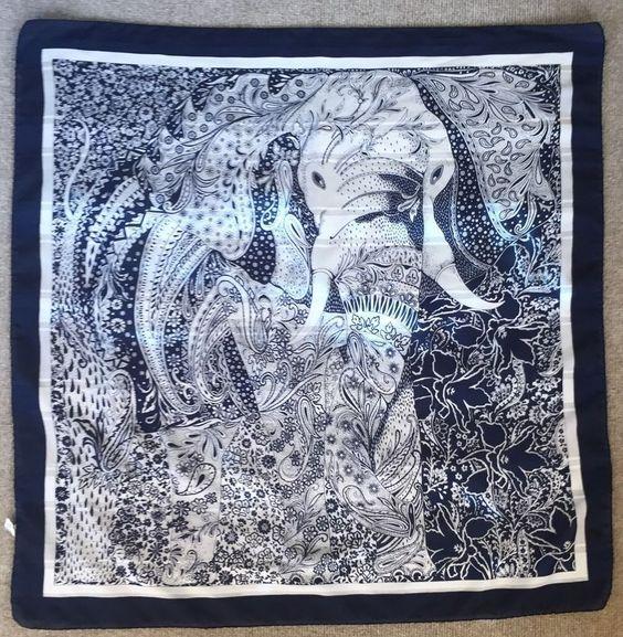 Betmar Navy White Elephant Paisley Floral Print Scarf Italy 31 x 31 Vintage | eBay