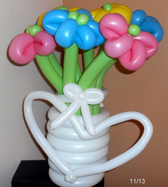 Pretty vase of balloon flowers perfect for your baby