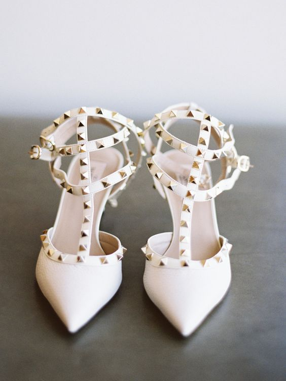 Chic studded white Valentino pumps: http://www.stylemepretty.com/2016/03/29/this-groom-chose-to-marry-at-a-place-close-to-his-heart/ | Photography: Lane Dittoe - http://lanedittoe.com/
