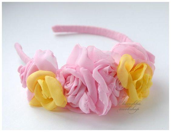 """Купить Ободок для волос с бутонами роз """"Цветение"""" - ободок для волос, ободок с цветами, ободок для девочки"""