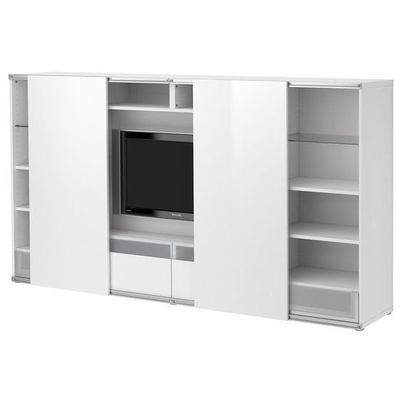 best tv aufbkomb mit schiebet ren wei ikea tv pinterest. Black Bedroom Furniture Sets. Home Design Ideas