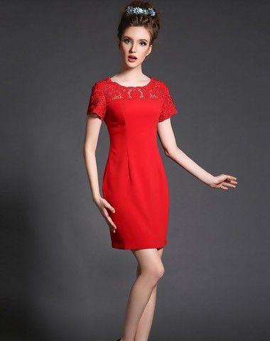 Red Short Sleeve Pierced Mini Sheath Dress