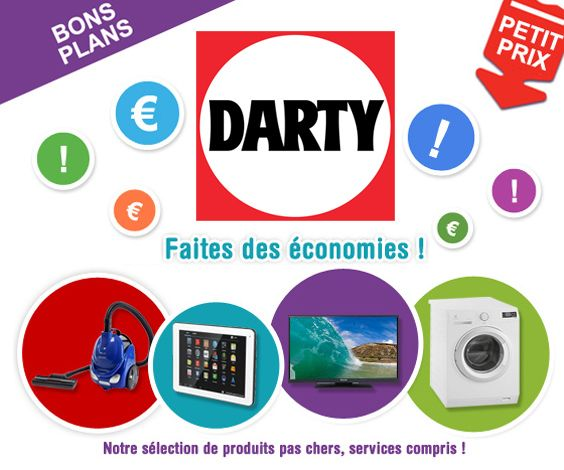Cette page du site de Darty répertorie une sélection de bons et produits à petit prix dans de nombreux univers : petit et gros électroménager, TV et home-cinéma, PC et tablettes, APN et caméscopes, etc.