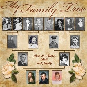 Family Tree: Heritage scrapbook page. If you do not have everyone's photos, improvise to create placeholders: A letter written by them, a document naming them or object that belonged to them, gravestone etc. Scanning old photos is quick and easy: Just use your iPad or iPhone and Pic Scanner app. Click & download free. Layout via http://buildyourfamilytreeonline.com