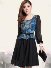 New arrival long sleeve big size flower color fashion dress  $ 15.48
