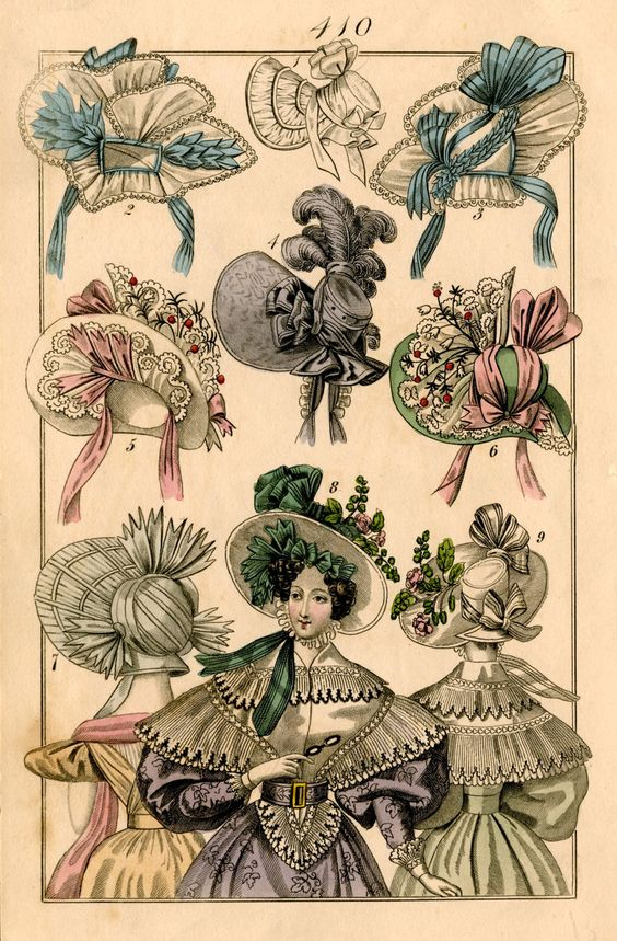 hats fashion print original 19th century french antique engraving no 3