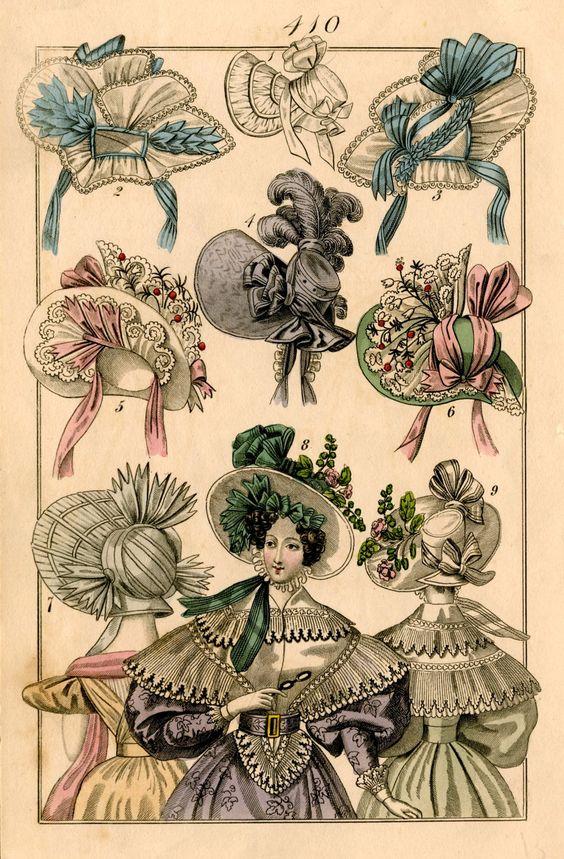 hats fashion print original 19th century french antique engraving no 3