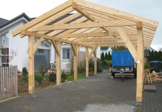 Tragwerk Fur Carport Mit Bild Carport Selber Bauen Dachstuhl Bauen
