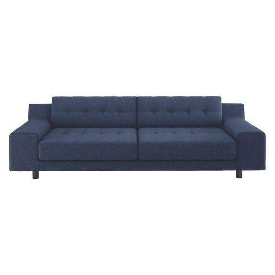 HENDRICKS Blue wool 3 seater sofa