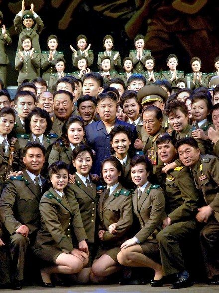 Kim with performers after another Pyongyang ceremony celebrating the 1953 armistice. Photo: From Xinhua/Polaris.