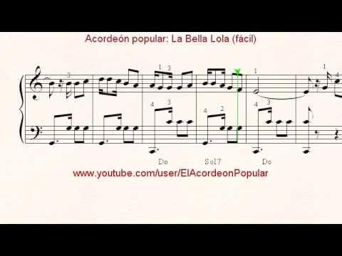 Partitura De Acordeón La Bella Lola Fácil Youtube Acordeon Partituras Partituras Acordeon