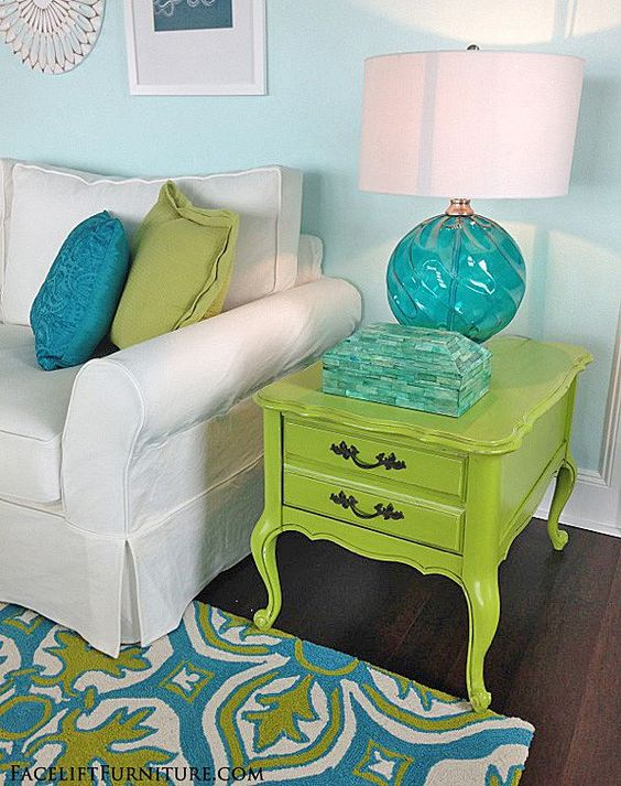 French end table makeover in distressed lime green with black glaze. From the Beach House collection at Facelift Furniture.:
