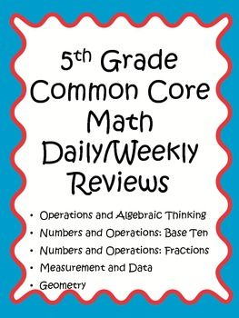 5th Grade Math Common Core Weekly Daily Review Warm Ups