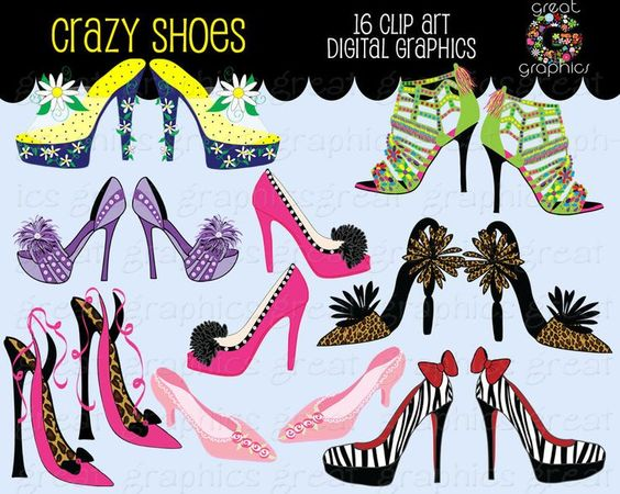 Funky High Heel Clip Art | il_fullxfull.317152521.jpg (1000×800): Shoes Clipart, Crazy Shoes ...