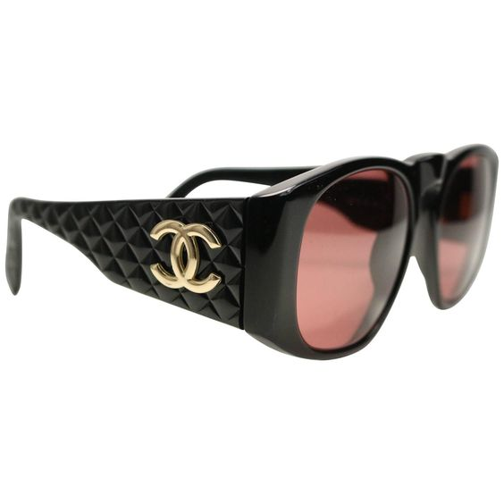 """Chanel Black Quilted Rectangular Gold """"CC"""" Logo Sunglasses 1990"""