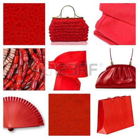 Collage van negen mode rode objecten Stockfoto