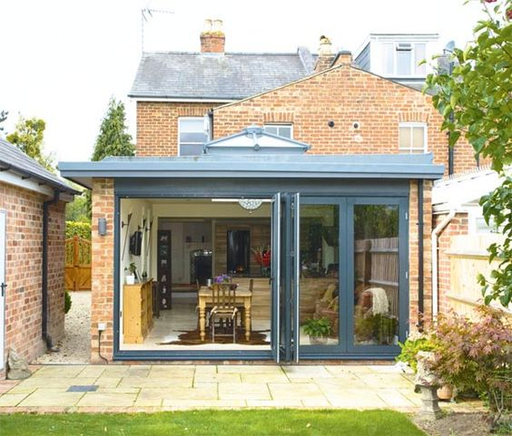 Bi fold doors v randa verrieres conservatory for Garden house extension