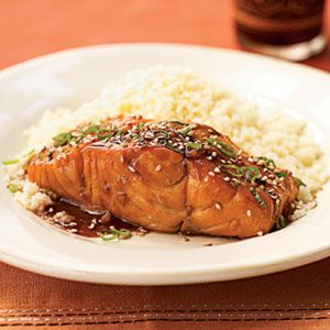 Bourbon-Glazed Salmon- This turned out deliciously. The glaze gave the salmon a sweet, savory flavor. I served with asparagus and red potato salad.