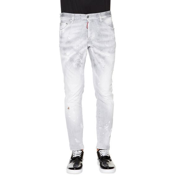 Dsquared2 Cool Guy Distressed Skinny Jeans ($675) ❤ liked on Polyvore featuring jeans, grey, distressed skinny jeans, super ripped skinny jeans, ripped jeans, grey jeans and denim skinny jeans