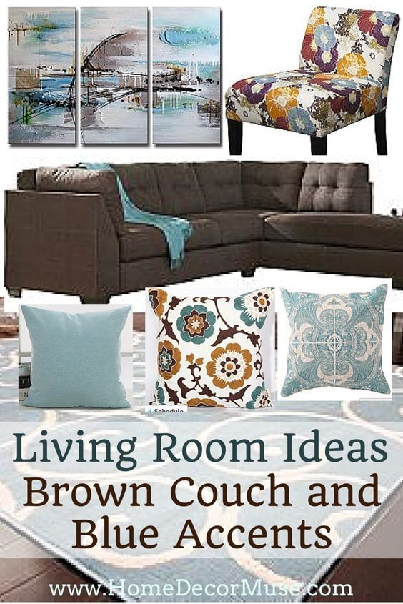 Brown Sectional Sofa Plus Blue Living Room Inspiration | Blue Accents,  Living Rooms And Brown