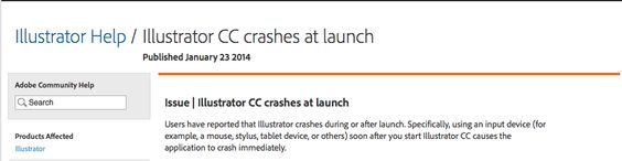 Adobe Illustrator CC 2014 crashes on launch after showing welcome screen - this page provided an answer for my problem - http://helpx.adobe.com/illustrator/kb/illustrator-cc-crash-wacom-drivers.html.