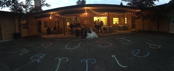 Chalk writing outside reception