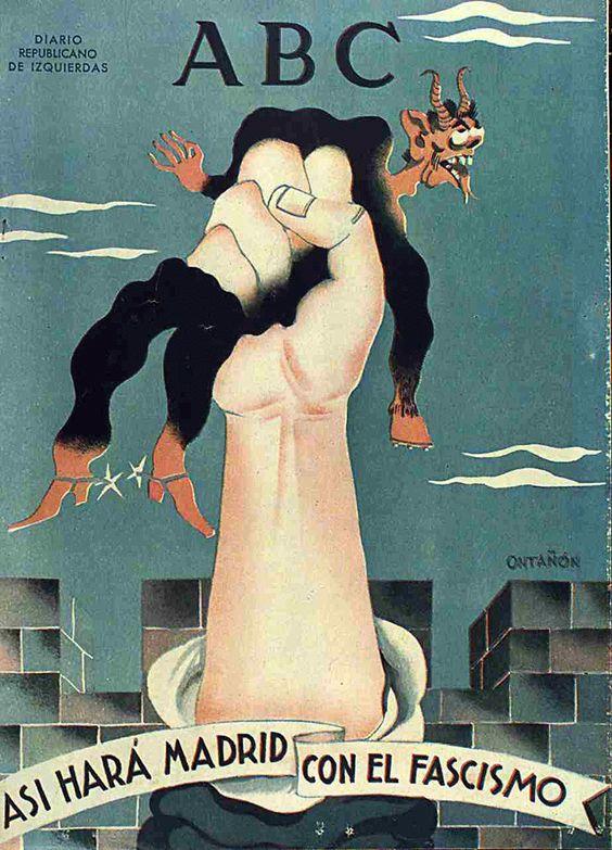 """Spain - 1936. - GC - poster - En efecto, el día 11 de noviembre de 1936, Ontañón dibuja una mano que emerge de la parte de debajo de la portada aplastando entre sus dedos a un diablo rojo con traje negro y espuelas en las botas rojas; de fondo, una muralla de piedra y abajo un letrero que reza """"ASÍ HARÁ MADRID CON EL FASCISMO""""."""