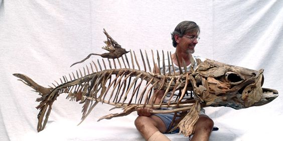 A tarpon Skeleton sculpture by Tony Fredriksson from driftwood. www.openskywoodart.com