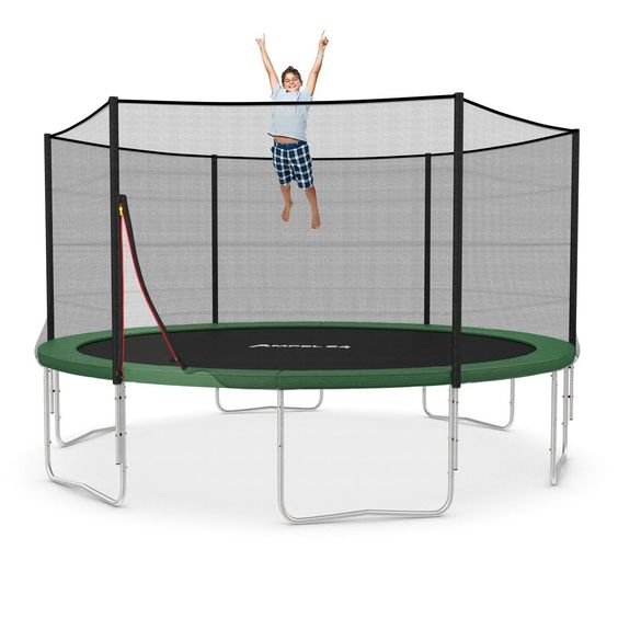 Ampel 24 Trampolin Ø 430 cm blau oder grün | Gartentrampolin Komplettset mit verstärktem Sicherheitsnetz | belastbar bis 160 kg | 2 Ausführungen | Extra Schutz: Amazon.de: Sport & Freizeit