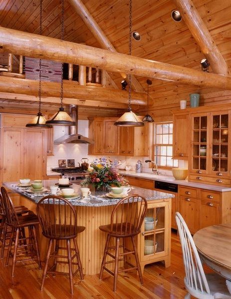 Pinterest the world s catalog of ideas for Log cabin kitchen islands