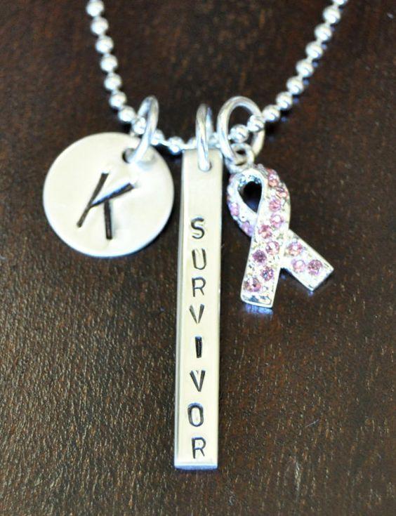 Cancer Survivor Personalized Awareness Ribbon Necklance, Breast Cancer Survivor, Ovarian, Uterine & Cervical Cancer Survivors on Etsy, $114.00