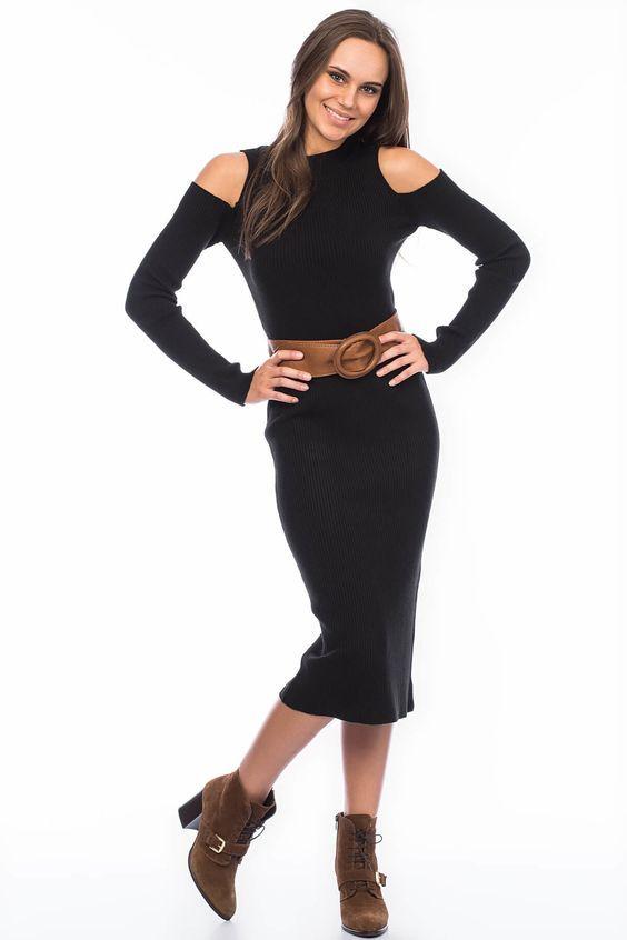2021 Uzun Triko Kazak Elbise Kombinleri Siyah Midi Omuz Dekolteli Kemerli Kahverengi Nubuk Topuklu Bot Kazak Elbise Moda Moda Stilleri