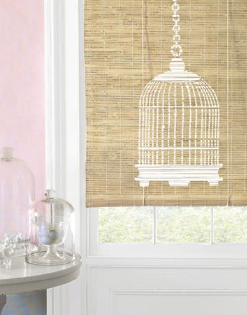 Stencils and spray paint are a match made in heaven. How adorable is this birdcage spray painted onto a simple bamboo shade? It could easily work on a plain vinyl shade too.
