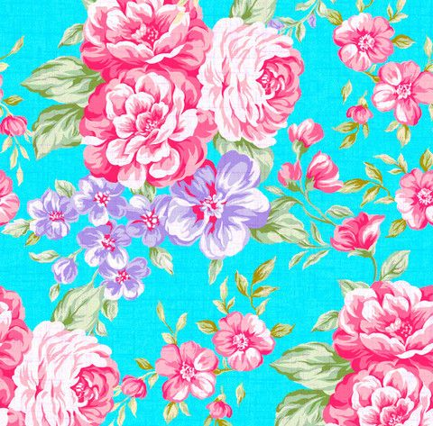 wallpapers teal wallpaper and pink and purple flowers on