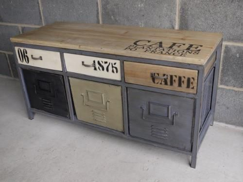 Loft Style Industrial Multi Colour Metal Wood Sideboard 100 X 38
