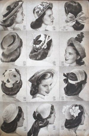 1940s teeager fashion hats: