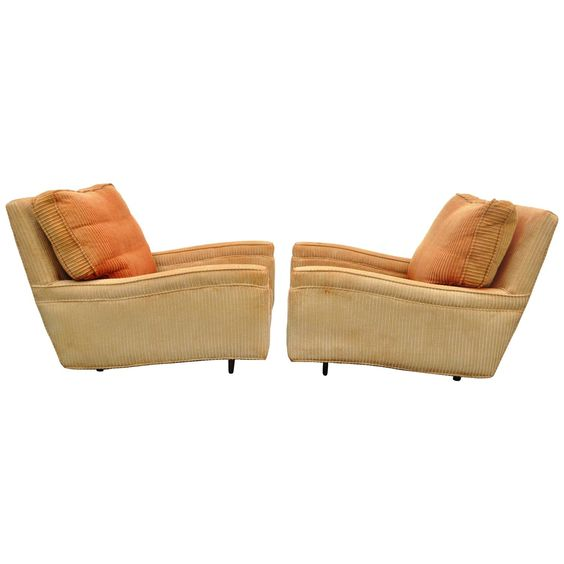 Pair Mid-Century Modern Deep Frame Sculpted Club Chairs attributed Milo Baughman