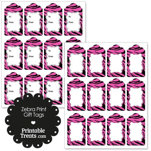 Hot Pink Zebra Print Gift Tags