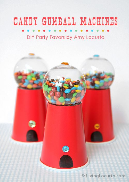 Super cute! Candy Gumball Machine Party Favors by Amy Locurto from LivingLocurto.com