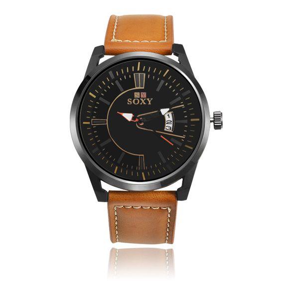 SOXY Luxe Merk Analoge Datum mannen Quartz Horloge Casual Horloge Mannen Horloge…