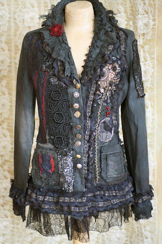 Verkauf-Steampunk Jacke - extravagante überarbeitet Vintage Jacke, tragbare Kunst, Hand bestickt und Perlen Informationen,