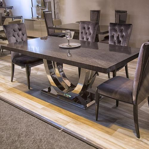 Toreno Grey High Gloss Chrome 200cm Dining Table Chairs In