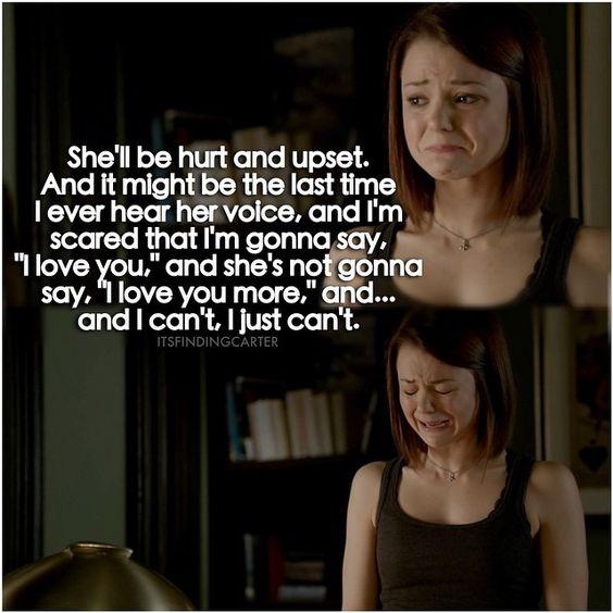 """""""...I can't, I just can't..."""" Carter breaking down over the decision to stay with her real family, or to leave with her kidnapper. She stays with her family though."""