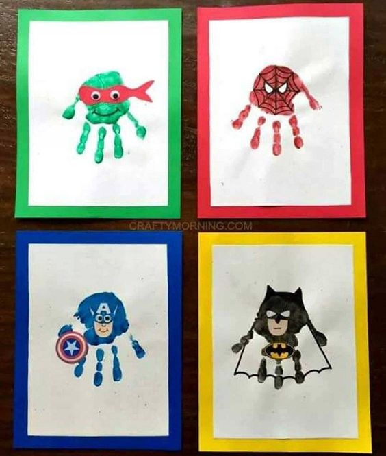 SUPER HERO HANDPRINTS....adorable!!!  http://www.craftymorning.com/amazing-superhero-handprint-crafts-for-kids/