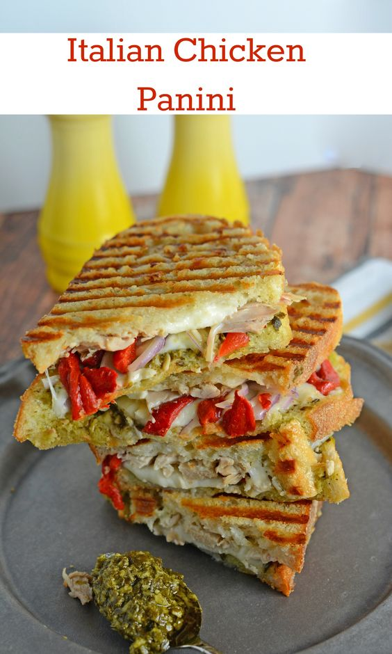 Italian Chicken Panini Recipe - Crusty bread filled with gooey ...