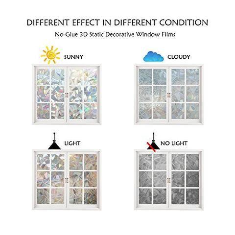 Decorative Window Film Holographic Film 23 X 36 Panel Cracked Ice Pattern Decorative Window Film Window Film Window Decor