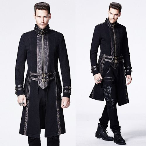 Designer Black Gothic Military Fashion Dress Trench Coats for Men