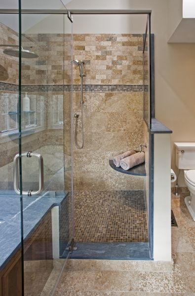 Travertine Tile Stone Mosaic And Glass Shower Enclosures